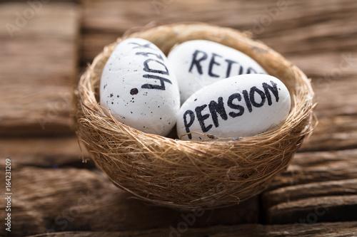 Pension  401K And Retire Written On White Eggs In Nest