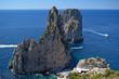 Faraglioni, the Three Rocks of Capri, seen from the Pizzolungo trail, Capri, Italy