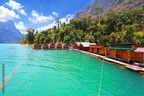 Canvas Prints Green coral Beautiful mountains and river natural attractions in Ratchaprapha Dam at Khao Sok National Park, Surat Thani Province, Thailand.
