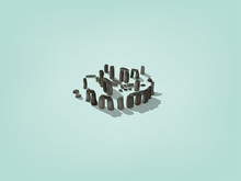 Illustration Vector Isometric Design Concept Of Stonehenge The United Kingdom Of Great Britain And Northern Ireland, England