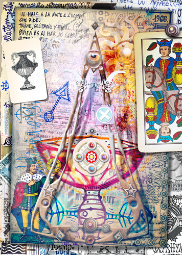 Spoed Foto op Canvas Imagination Esoteric graffiti and manuscipts with collages,symbols,draws and scraps