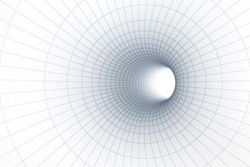 Fototapeta Minimalistyczny 3d White tunnel with grid background.