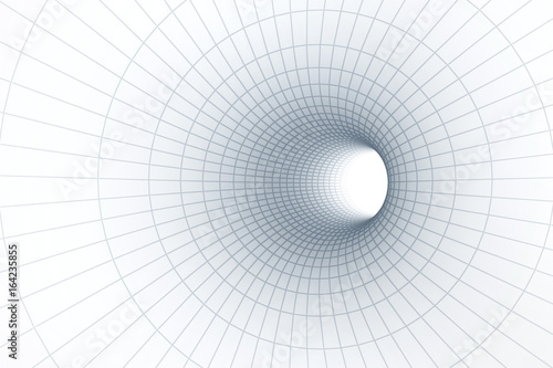 3d White tunnel with grid background.