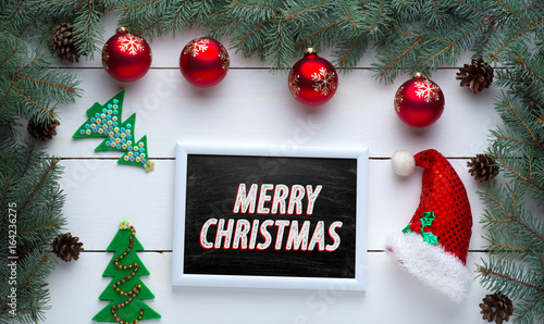 Beautiful Wooden Christmas Background With Wooden Icons Of