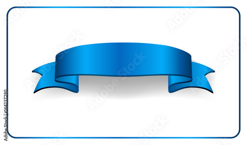 Blue Ribbon Banner Satin Blank Design Label Scroll Bow Element Isolated On