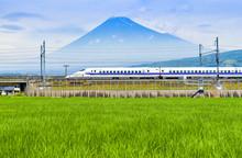 Bullet Train And Fuji Mountain...