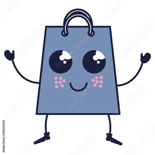 Papiers peints Rouge, noir, blanc shopping bag kawaii character vector illustration design