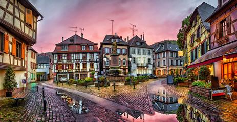 Fototapeta Rainy sunset in historical village Ribeauville, Alsace, France