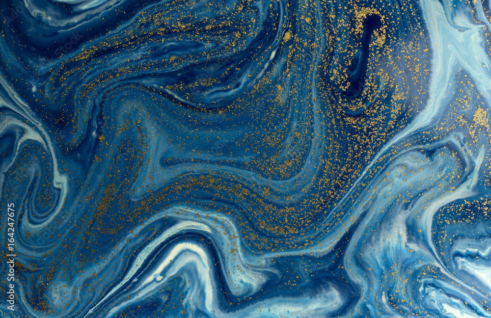 Fototapety, obrazy: Marbled blue and golden abstract background. Liquid marble pattern