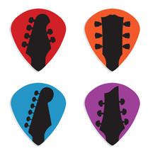 Guitar Headstock In Guitar Pick Icon Set