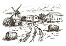 Windmill, Village Houses And F...