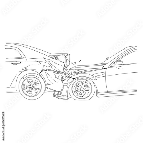 Auto Accident Involving Two Cars Vector Illustration Outline