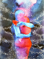 Fototapeta Erotyka couple lover hugging in universe abstract free mind, inside your world watercolor painting design illustration background