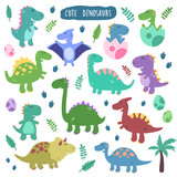 Fototapeta Dinusie - Cute vector set with dinosaurs. Funny smiling dinosaurs, footprins, eggs, baby, palm. Cartoon characters.  Design elements