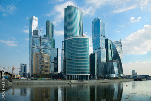 Plakat wieżowce miasta Moskwy