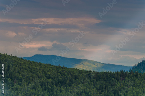 Keuken foto achterwand Groen blauw Carpathian mountains landscape in Ukraine in the summer season in Yaremche