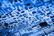 canvas print picture - Abstract, close up of Circuits Electronic on Mainboard Technology computer background  (logic board,cpu motherboard,Main board,system board,mobo)