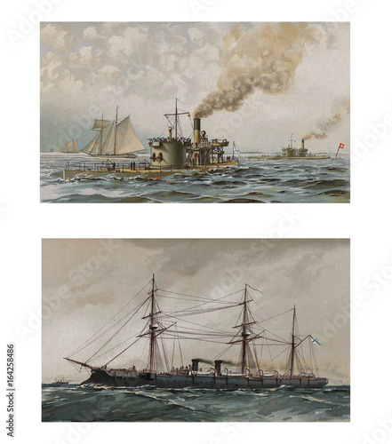 Illustration of ships 19-18 century. Wallpaper Mural