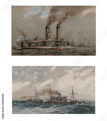 Illustration of ships 19-18 century. Tablou Canvas
