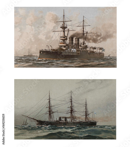 Illustration of ships 19-18 century. Fototapet