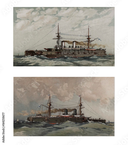 Photo  Illustration of ships 19-18 century.