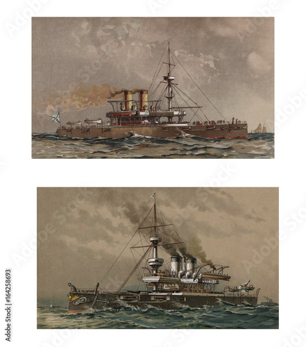 Fotografie, Tablou  Illustration of ships 19-18 century.