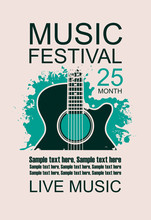 Vector Banner With Acoustic Guitar On Grunge Green Background, Lettering Festival Live Music And Place For Text In Retro Style