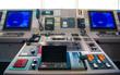 Control navigator panel room on the bridge of the ship.