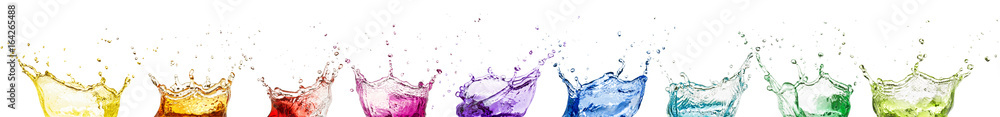 Fototapeta rainbow liquid splash crowns collection