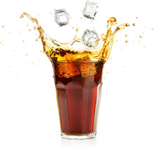 Ice Cubes Falling Into A Cola ...
