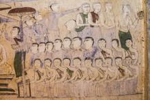 Ancient Thai Isan Mural Painting, The Scenes Of Religion And Life Of Thai Isan People, At Wat Yang Tuang Wararam, Buddhist Temple In Amphoe Borabu, Maha Sarakham, Thailand, On November 29, 2016