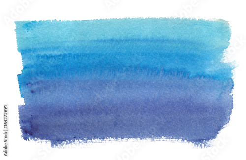 Valokuva  Turquoise blue to dark navy blue gradient painted in watercolor on clean white b