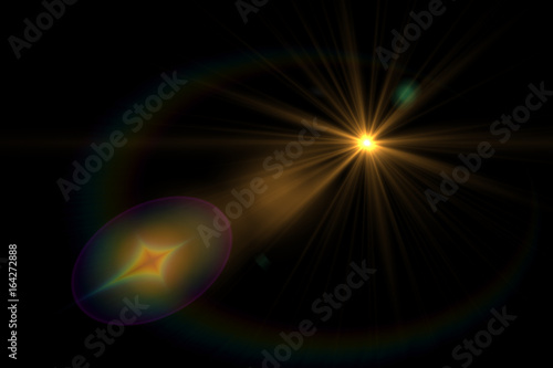 Photo  Lens flare light over black background