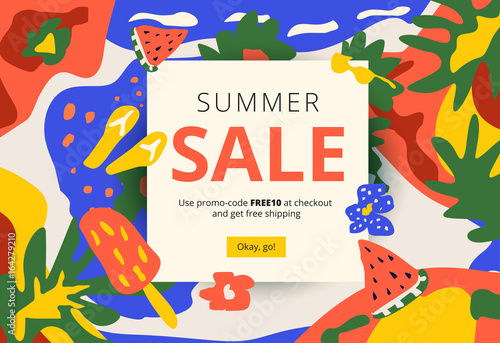 creative summer promotion social media web banner artistic bright