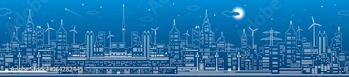 Nocy miasta panorama, grodzka infrastruktury ilustracja, nowożytna linia horyzontu, białe linie na błękitnym tle, miastowa scena, wektorowa projekt sztuka