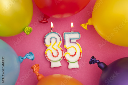 Happy Birthday Number 35 Celebration Candle With Colorful Balloons