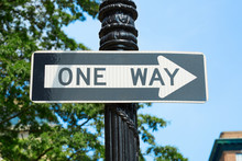 One Way Street Sign In New Yor...