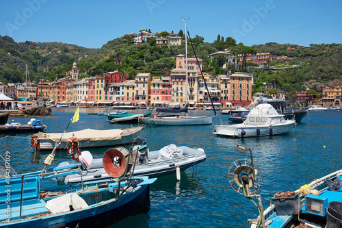 Photo Stands Pale violet Portofino typical beautiful village with colorful houses and fishing boats in Italy, Liguria sea coast