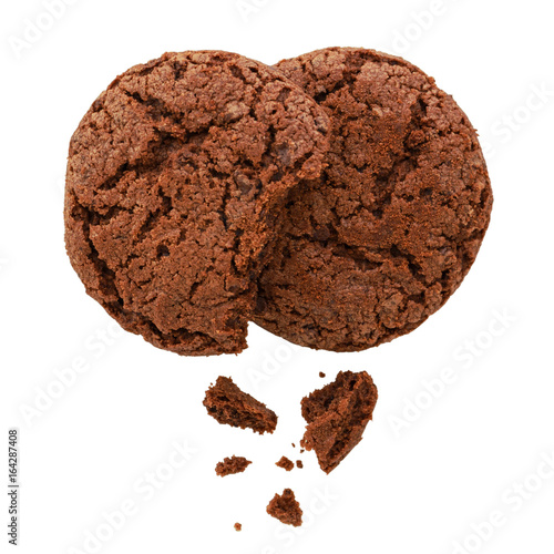 Tuinposter Koekjes Chocolate cookies isolated on white background