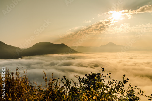 The sun rise mountain in Thailand, Phu Tok