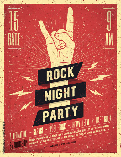 Rock Night Party Poster. Vintage Styled Vector Illustration.