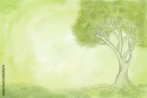 Acrylic Prints Forest Sketch of tree on green background