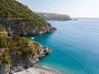 Tratto di costa della Calabria, vista aerea, San Nicola Arcella, provincia di Cosenza. Spiaggia e mar Tirreno, insenature e promontori a picco sul mare. Italia