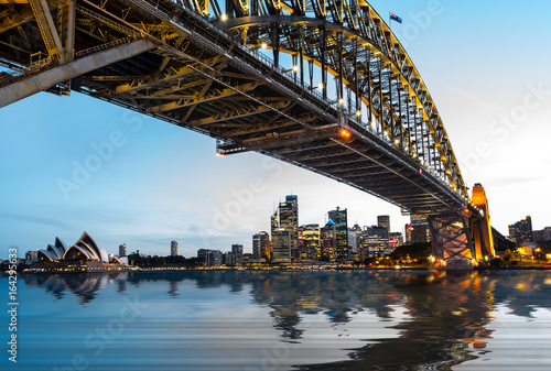 Dramatic panoramic sunset photo Sydney harbor Wallpaper Mural