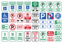 Set Of Car Parking Sign. Vecto...