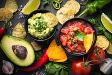 Traditional Latinamerican Mexican Sauce Guacamole And Salsa On B