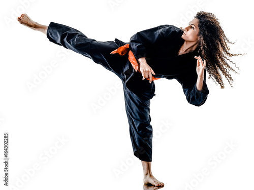 Keuken foto achterwand Vechtsport one caucasian woman practicing martial arts Kung Fu Pencak Silat in studio isolated on white background