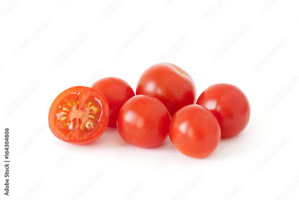 Fototapety, obrazy: Some fresh cherry tomatoes isolated on white background