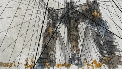 FototapetaWatercolor style illustration of the Brooklyn Bridge in New York. Down view.