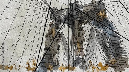 akwarela-modna-ilustracja-mostu-brooklinskiego-w-nowym-jorku-widok-z-dolu